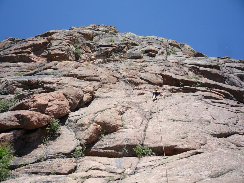 Approaching the crux roof on the first pitch.