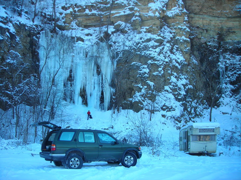 "Wyalusing ice--Dennis's quarry left side ""Quarry Monster"" 12-19-10.  Before the recent 2 day annoying warm up (Dec. 30th and 31st)."