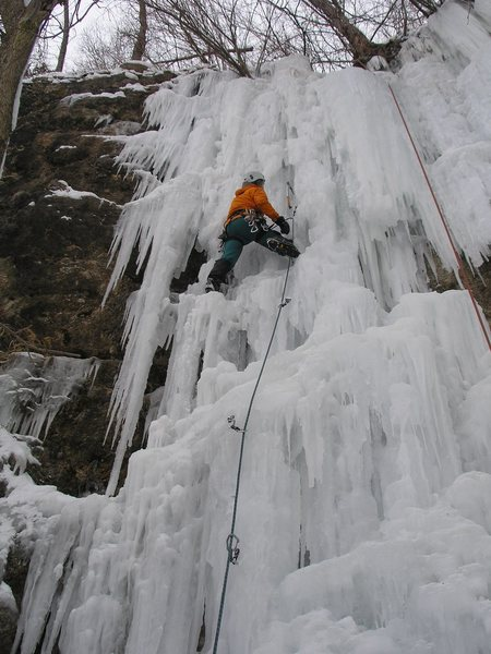 "Burt L. leading ""Quarry Monster"" left side- Dennis's quarry, Wyalusing 12-29-10.  The left side had filled in great this year and had an awesome and a bit overhanging- challenging ice lead."