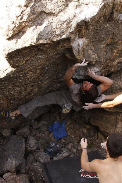 Rock Climbing Photo: Danny Baker: V6+ problem on boulder across from Ga...