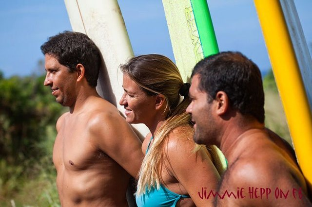 Left to right Yuri,Andrea Moller,and Marcia Freier Brazilian traditional big wave surfers.