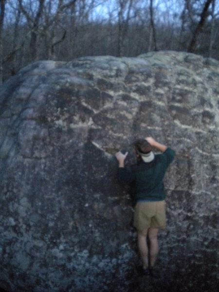 Rock Climbing Photo: Gaining the large undercling/sloper.