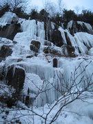 Rock Climbing Photo: Lietuva, WI4+ M?, 25m (85ft) Left center 2010-12-2...