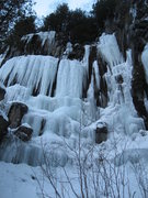 Rock Climbing Photo: Lietuva, WI4+ M?, 25m (85ft) Center right 2010-12-...