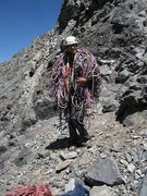 Rock Climbing Photo: Removing the terribly worn fixed ropes from the ho...