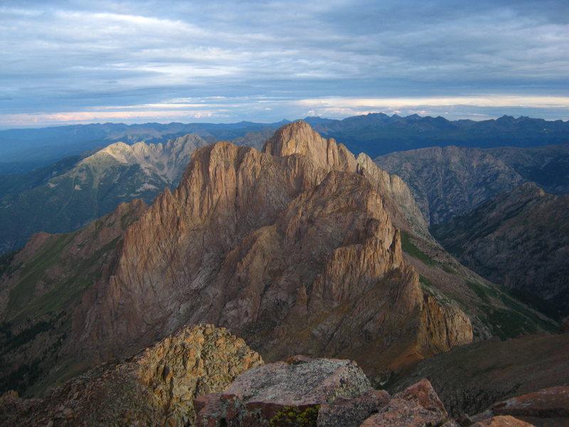Peak XV(?) from the summit of Mt. Eolus