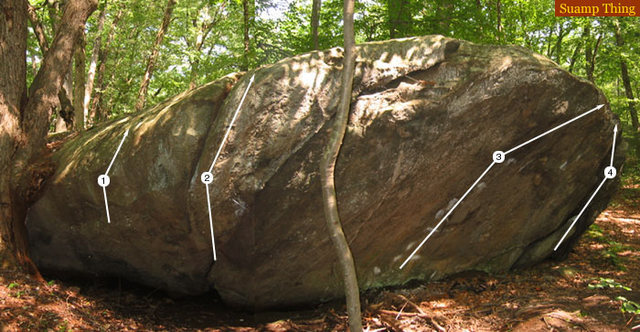 Rock Climbing Photo: Routes on Swamp Thing