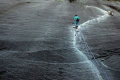 Rock Climbing Photo: Erik Offner leading the second pitch of Exasperato...