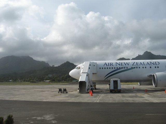 "Our plane just after landing in Rarotonga...this ""international"" airport only has one runway and can only handle one plane at a time"
