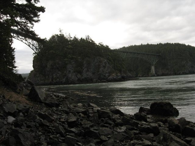 This is Deception Pass (we were on a long road trip last summer) with the island in the middle of the photo...some of the strongest currents I've ever seen around this island