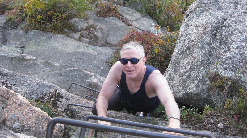 Descending the precipice trail at Acadia NP.