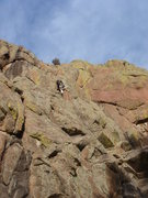 Rock Climbing Photo: At the crux of an unknown 5.8 in an undisclosed lo...