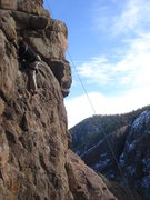 Rock Climbing Photo: Leading an unknown 5.7 in an undisclosed location....