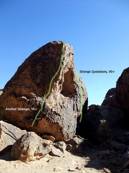 overview of Strange Boulder routes