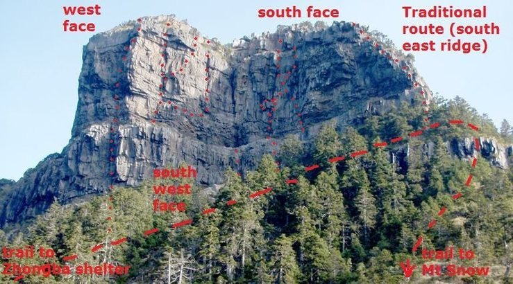 Mt Dabajian viewed from the south (at I Love You platform), the best view of all the routes on the south and south west faces