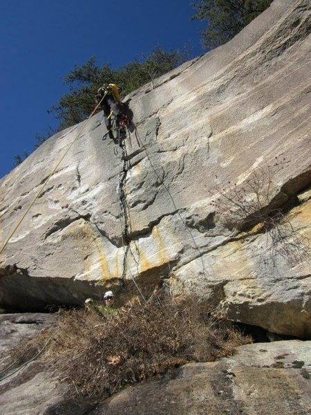 Rock Climbing Photo: note how far out tag line is from base