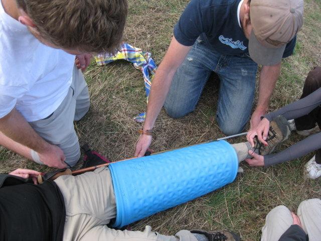 Rock Climbing Photo: Preparing a traction splint.