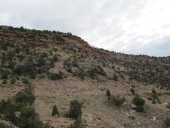 Rock Climbing Photo: View from parking area and approach up the old roa...