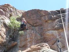 Rock Climbing Photo: A closer view of the steep crux wall.
