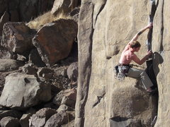 Rock Climbing Photo: The lower cruxy moves on Bone Collector.