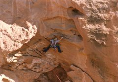 Rock Climbing Photo: Project - Breaking the Law (5.10?) - Day 1  gainin...