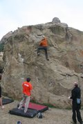 Rock Climbing Photo: Finishing up the easy moves on Endo Boy, V3