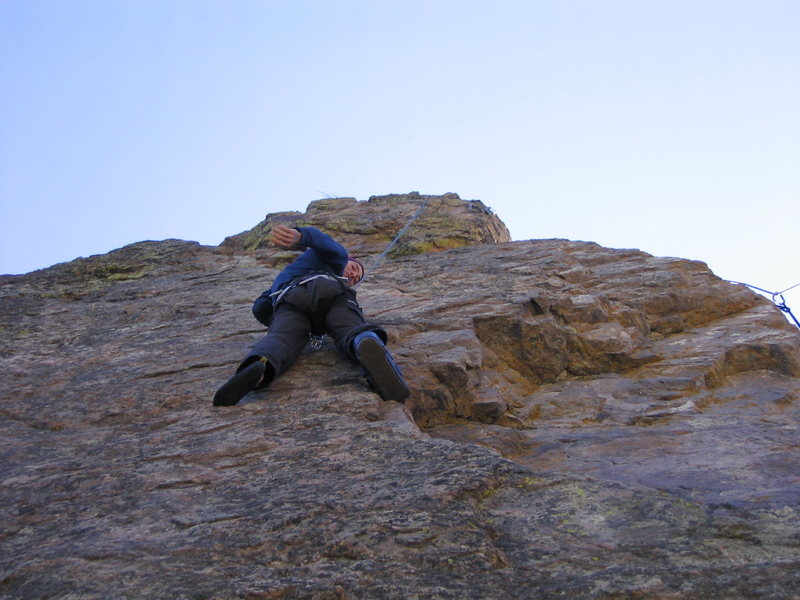 Climbing with a broken ankle in '05.  Prospect Mtn. CO.