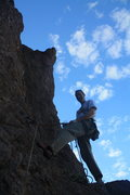 Rock Climbing Photo: J DOG Chillaxin at the top of the 1st Pitch of the...