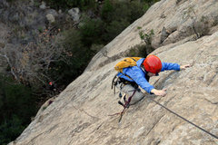 Rock Climbing Photo: Carolyn Libuser climbs the Tigger Treat variation,...