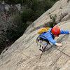 Carolyn Libuser climbs the Tigger Treat variation, high above San Ysidro Canyon.