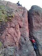 Rock Climbing Photo: Jonah (age 7.5) follows Strappo's lead of the clas...