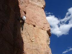 Rock Climbing Photo: La Cholla Jackson (5.8+), Shelf Rd.  Photo by Bust...
