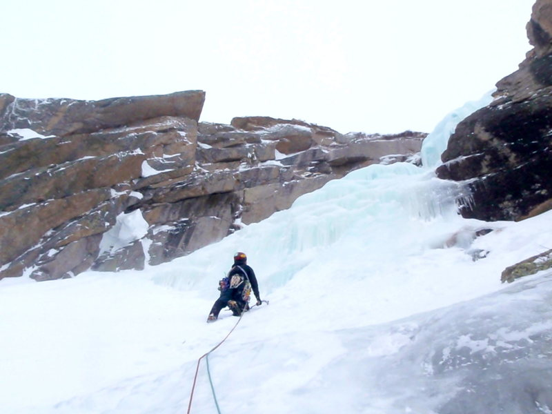 Guillaume Frechette on the way up to the lower angled first pitch of the West Gully.