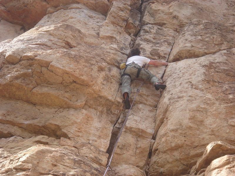 new route on Bank Robber wall (5.9), Shelf Rd.