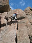 Rock Climbing Photo: leading the direct finish (5.8) of Left Handed Jew...