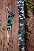 Rock Climbing Photo: Catherine C. on Brendalicious camped on the flake-