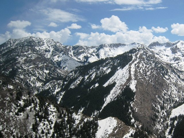 Mineral Fork from Mill B North.  Far right is the Sundial in Mill B South, then, over the ridge to the left is Mineral Fork.