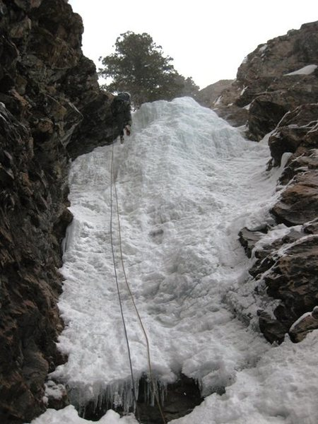 Rappelling down Mineral Fork Ice.
