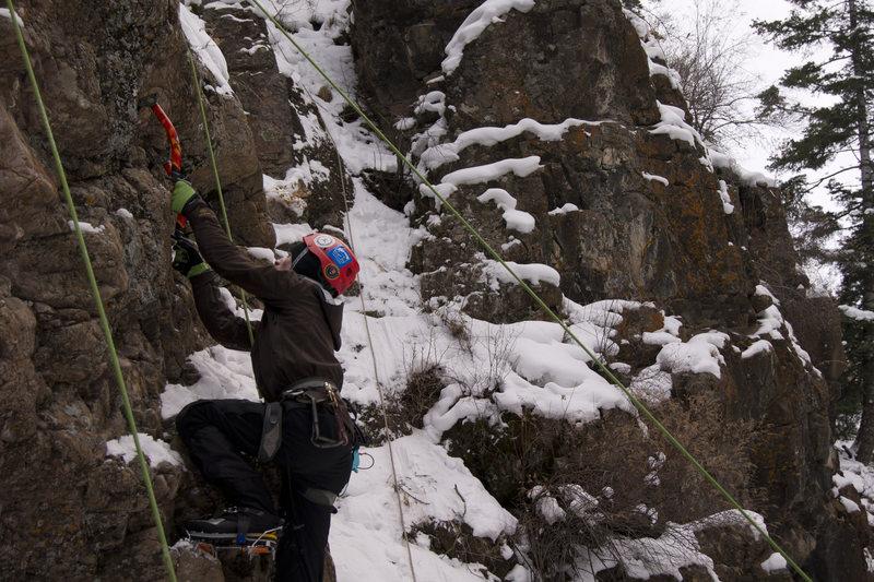 Rock Climbing Photo: A short M4 climb in the School Room @ Ouray