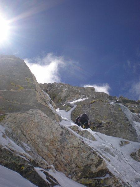 Rock Climbing Photo: up the north face of nez perce, teton range