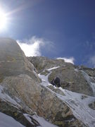 Rock Climbing Photo: up the north face of nez perce, teton range