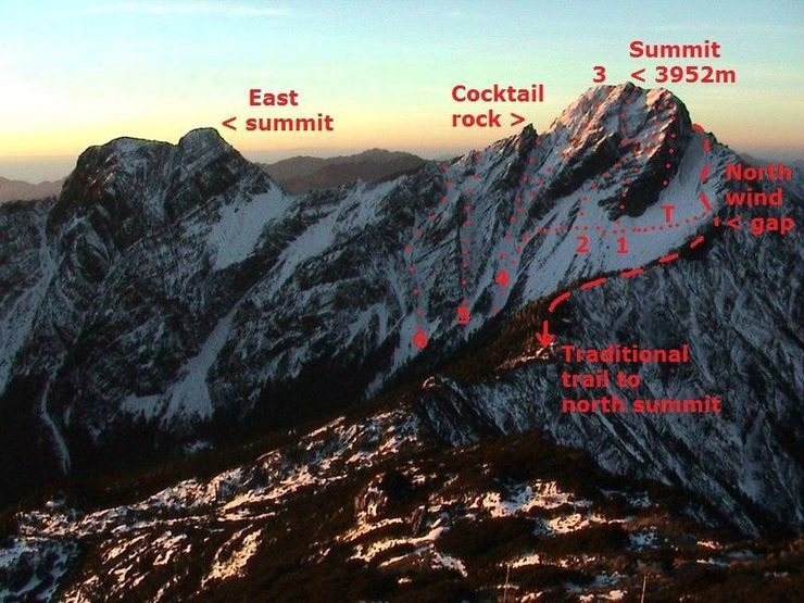 Routes on Yushan north face. (T=true north face, Gully @POUND@1,@POUND@2,@POUND@3,@POUND@4,@POUND@5,and @POUND@6)