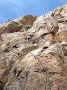 Rock Climbing Photo: Climbing Cruise Line (5.9) on the main face, Eagle...