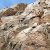 Climbing <em>Cruise Line</em> (5.9) on the main face, Eagle Peak
