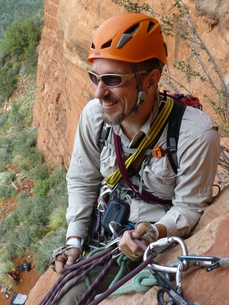 Enjoying a belay for the second pitch of 'Mars Attacks' in Sedona, AZ