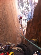 Rock Climbing Photo: Bittersweet near the end of the chimneys on Epinep...