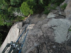 Rock Climbing Photo: Looking down from the second pitch of a 3 pitch pr...