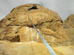 Rock Climbing Photo: Working through the 4th bolt.