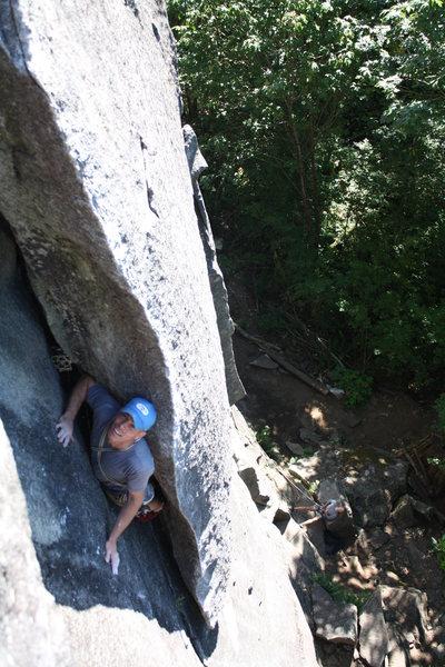 Rock Climbing Photo: crawling up the flake