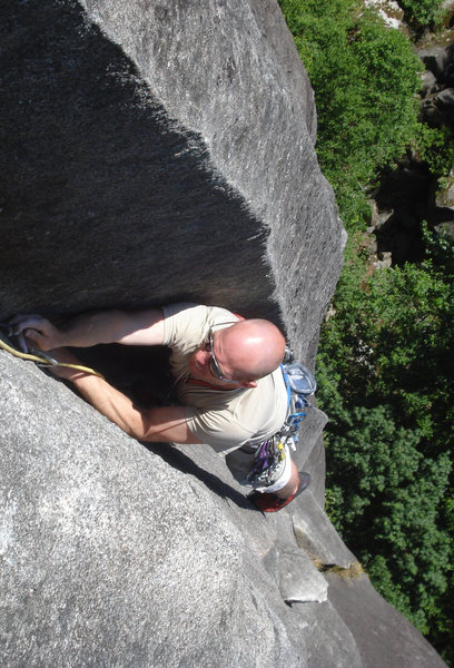 Rock Climbing Photo: heading in to the crux finishing moves of the rout...